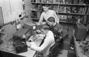 Students broadcast in the WGCS studio, circa 1965. (Photo by Rod Hernley)